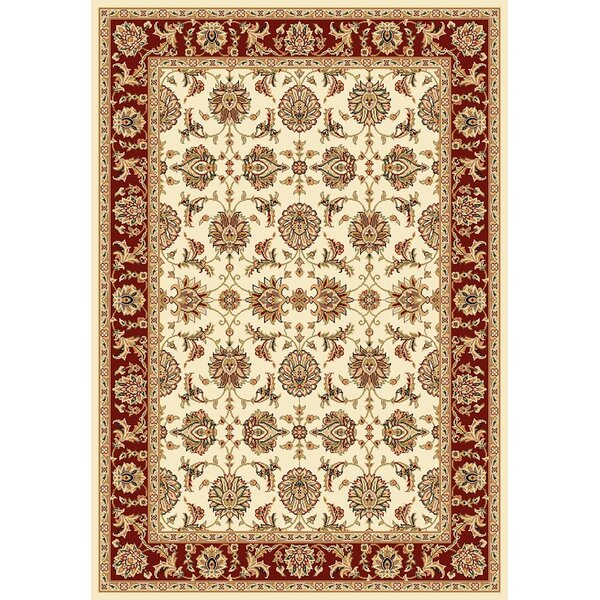 Bellville Kashan Ivory/Red Rug by Charlton Home