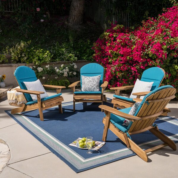 Post Solid Wood Folding Adirondack Chair (Set of 4) by Rosecliff Heights