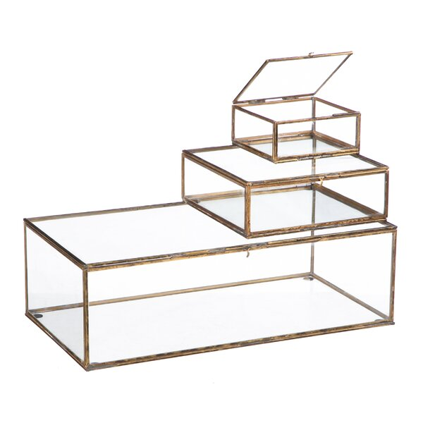 Morehead 3 Piece Glass Decorative Box Set by Bungalow Rose