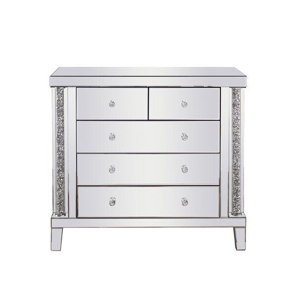 Jermaine Crystal 5 Drawer Accent Chest by Rosdorf Park Rosdorf Park
