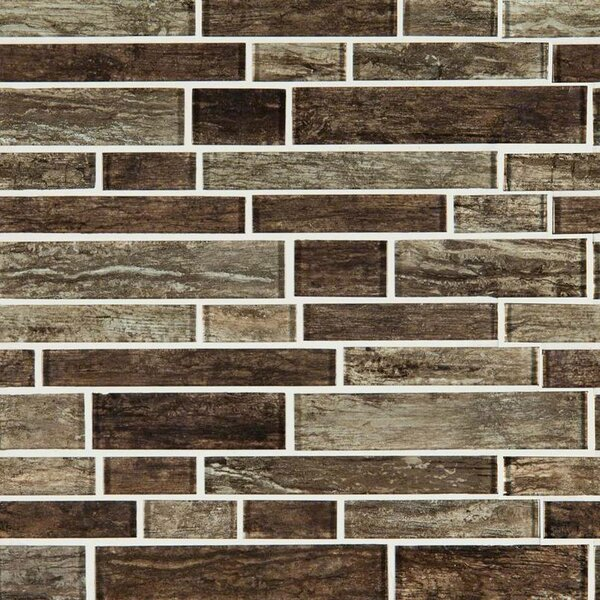 Antico Pewter Interlocking Random Sized Glass Mosaic Tile in Brown by MSI