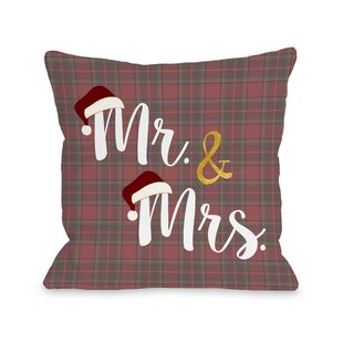 Mr And Mrs Santa Hat Plaid Throw Pillow