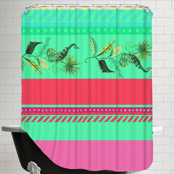 PalmStripes CaraKozik Shower Curtain by East Urban Home