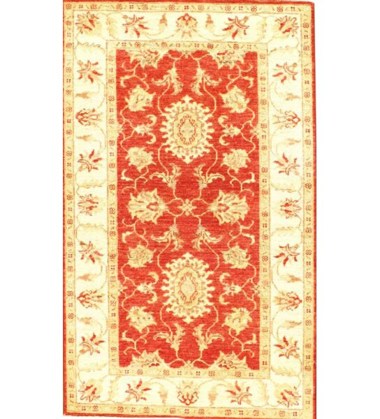 Original Farahan Scatter Hand-Knotted Wool Coral/Ivory Area Rug by Pasargad NY
