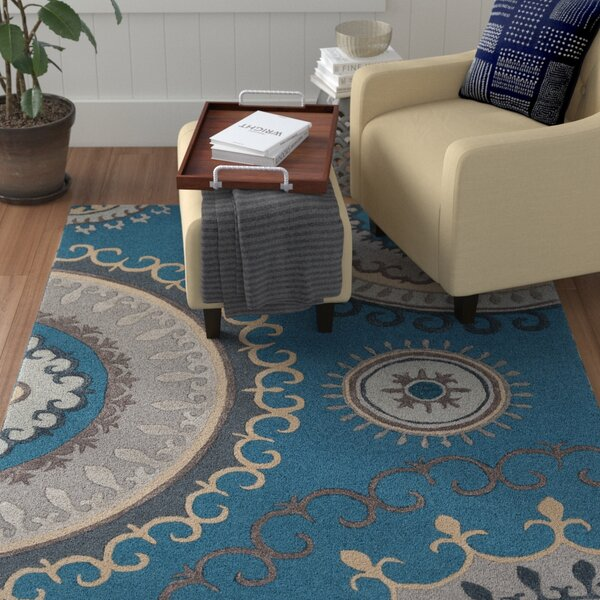 Costanzo Hand-Tufted Teal/Gray Area Rug by Red Barrel Studio