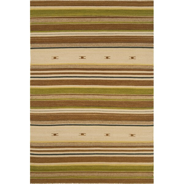 City Stripes Hand-Knotted Flatweave Wool Brown Area Rug by Continental Rug Company