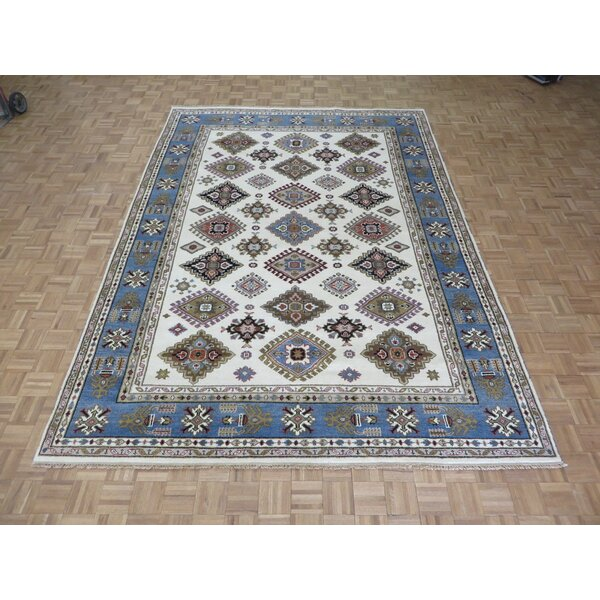 One-of-a-Kind Padula Tribal Hand-Knotted Wool Ivory/Blue Area Rug by Bloomsbury Market