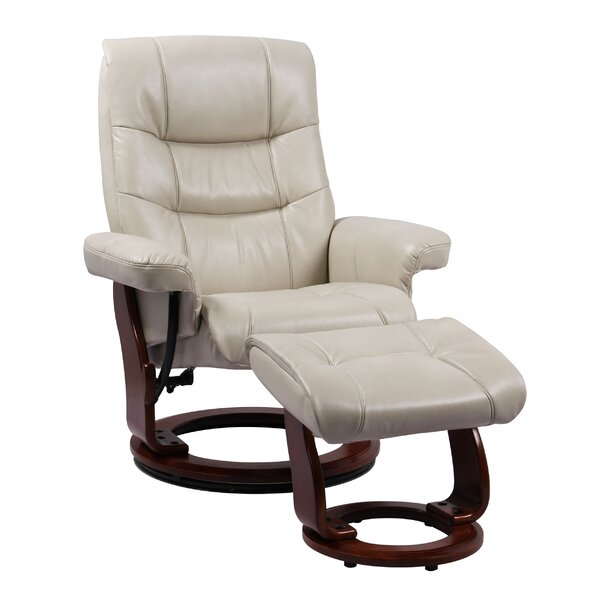 Soundtrack Faux Leather Manual Swivel Recliner with Ottoman W003282979