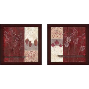 Pressed Crimson' 2 Piece Framed Graphic Art Print Set Under Glass by Ebern Designs