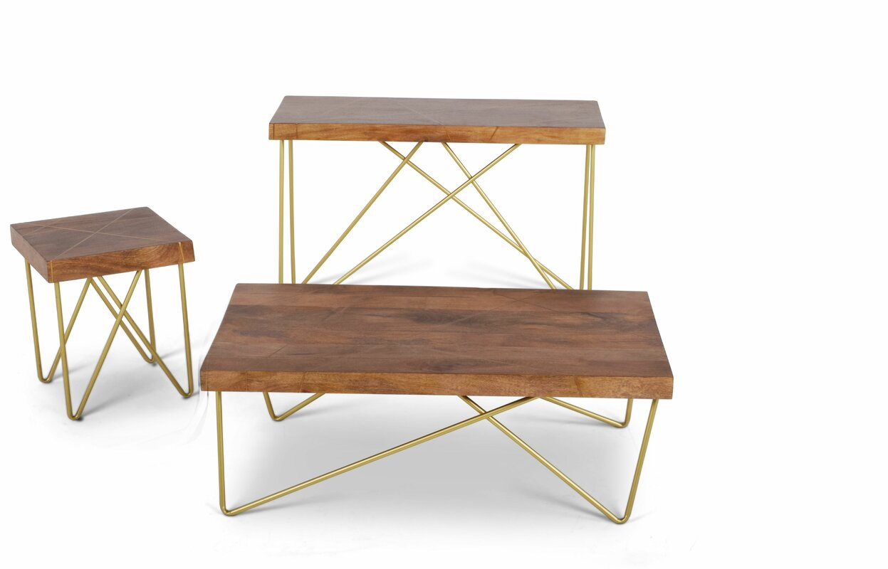 ivy bronx lilyana 3 piece coffee table set & reviews   wayfair