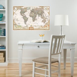World map wall sticker wayfair executive world map wall stickers gumiabroncs Image collections