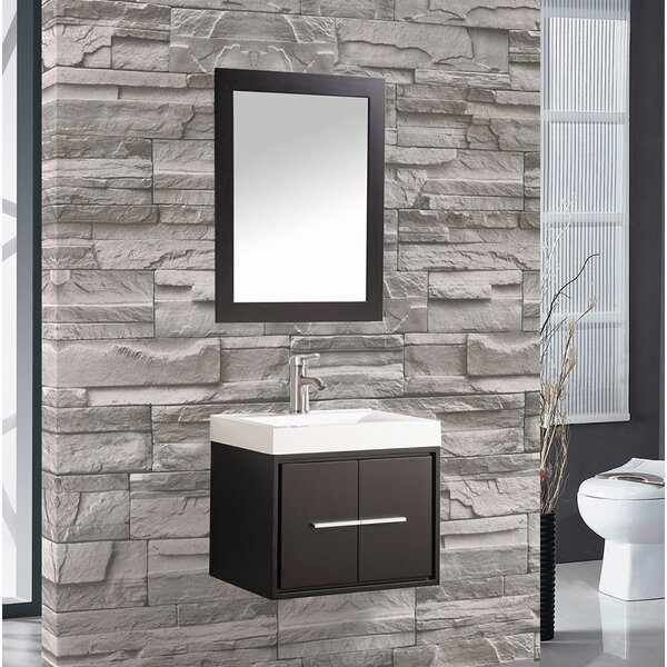 Peirce 24 Single Floating Bathroom Vanity Set with Mirror by Orren Ellis
