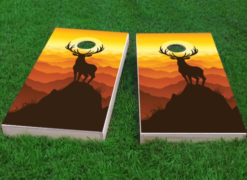 Deer Buck Mountain Sunset Cornhole Game (Set of 2) by Custom Cornhole Boards