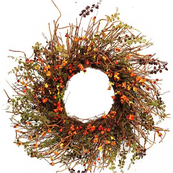 22 Hypericum Berries Twig Wreath by August Grove