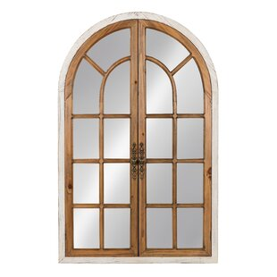Gracie Oaks Mcclanahan Wood Windowpane Arch Accent Mirror