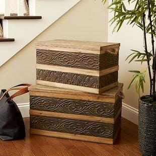 Large Metal Banded Wooden Storage Trunk & Extra Large Storage Trunk | Wayfair
