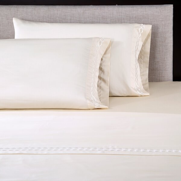 4 Piece 600 Thread Count Cotton Embroidered Sheet Set by Affluence Home Fashions