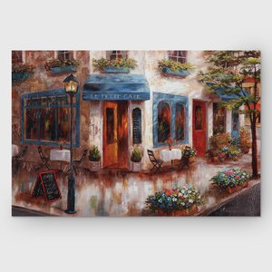 'Le Petit Cafe' by Nan F Painting Print on Wrapped Canvas by Wexford Home