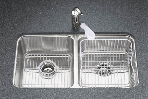 Undertone 31-1/2 L x 18 W x 7-3/4 Under-Mount Double-Equal Bowl Kitchen Sink by Kohler