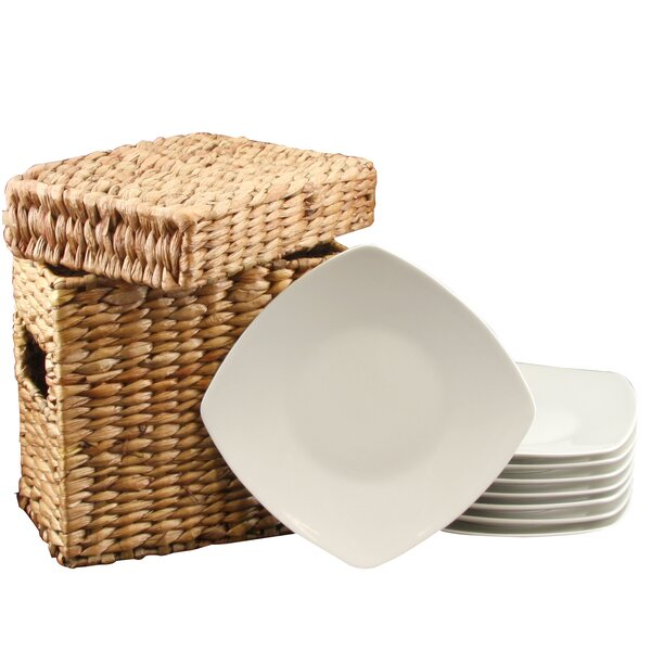 Weigle Dessert Plate with Wicker Package (Set of 8) by Latitude Run