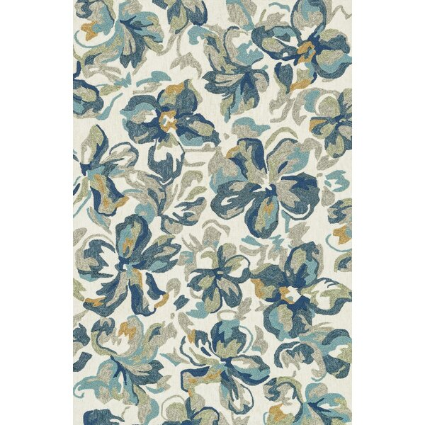 Kirshe Hand-Woven Ivory/Blue Indoor/Outdoor Area Rug by Ebern Designs
