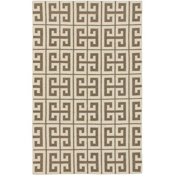 Kerala Cream/Khaki Geometric Rug by ECARPETGALLERY