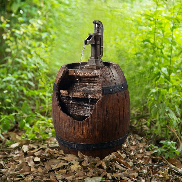 Resin Outdoor Pump and Barrel Waterfall Fountain by Peaktop