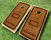 Stained Cornhole Set with Bag by AJJ Cornhole