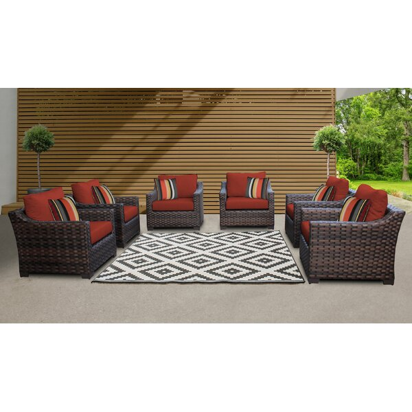 kathy ireland Homes & Gardens River Brook 6 Piece Outdoor Wicker Patio Furniture Set 06w (Set of 6) by kathy ireland Homes & Gardens by TK Classics