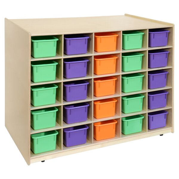 Island Double Sided 25 Compartment Cubby with Trays by Wood Designs