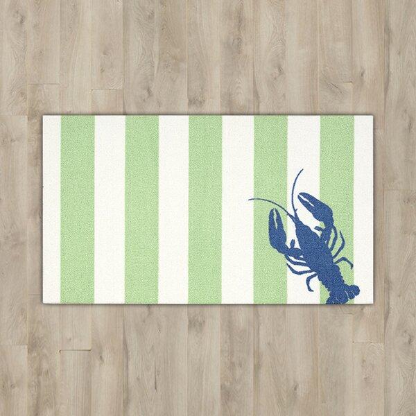 Orton Lobster Green/White Area Rug by Breakwater Bay