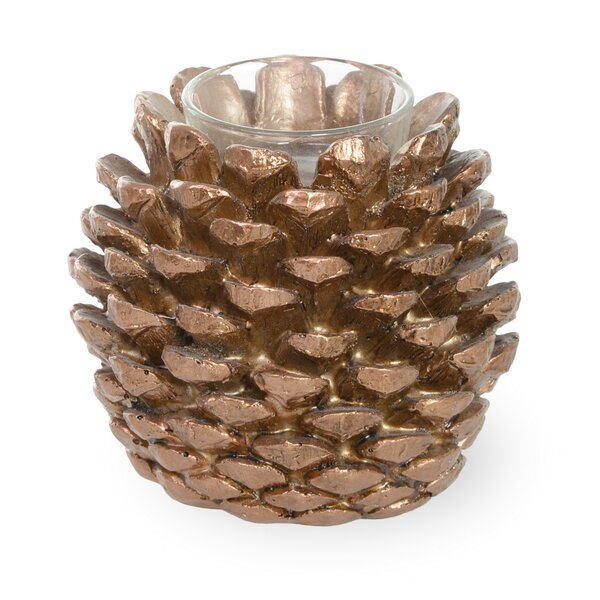 Pinecone Poetry Natural Glass Tealight (Set of 2) by Loon Peak