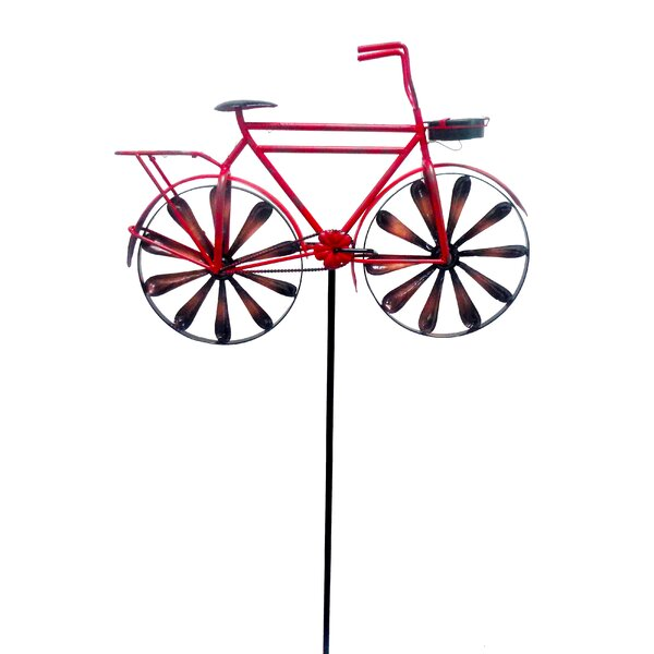 Solar Lighted Bicycle Garden Stake with Windmill Wheels by Continental Art Center