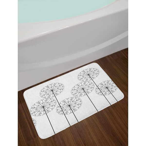 Floral Hand Drawn Digital Flower Dandelions Botanic Plants Nature Artwork Print Non-Slip Plush Bath Rug by East Urban Home