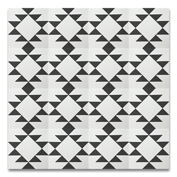 Rissani 8 x 8 Cement Field Tile in White/Black by Moroccan Mosaic