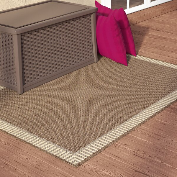 Westlund Wicker Stitch Cocoa/Natural Indoor/Outdoor Area Rug by Charlton Home