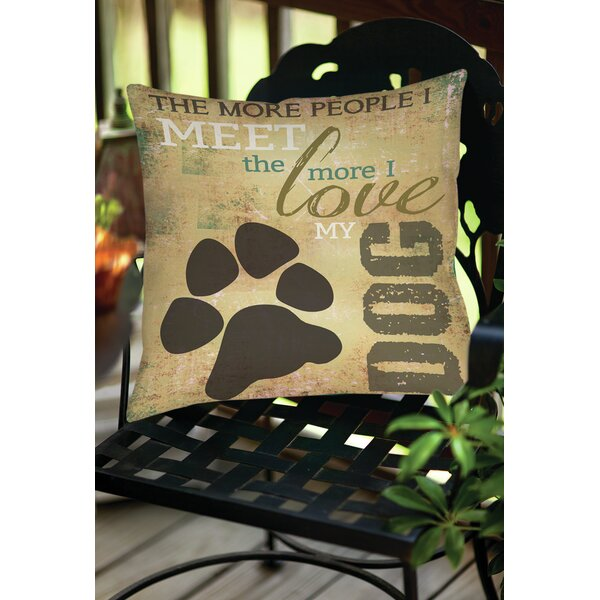 People vs Dog Indoor/Outdoor Throw Pillow by Manual Woodworkers & Weavers
