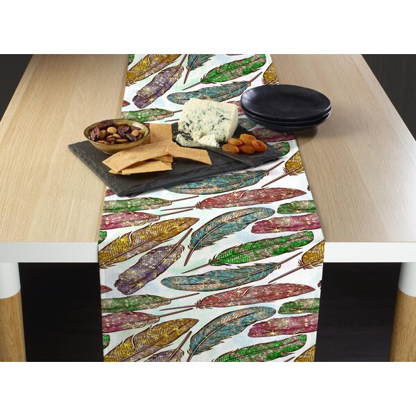 Eris Colorful Feathers Table Runner by Bungalow Rose