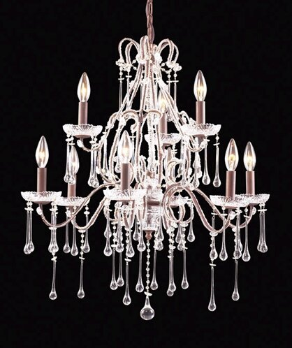 Opulence 9 - Light Candle Style Classic / Traditional Chandelier With Crystal Accents By Elk Lighting