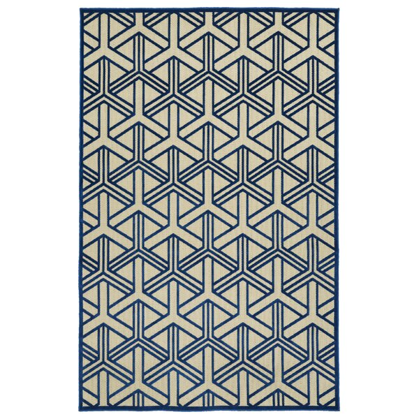 Alterson Machine Woven Navy/Cream Indoor/Outdoor Area Rug by Langley Street