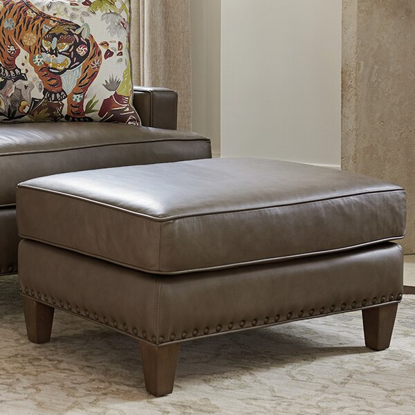 Cypress Point Leather Ottoman by Tommy Bahama Home
