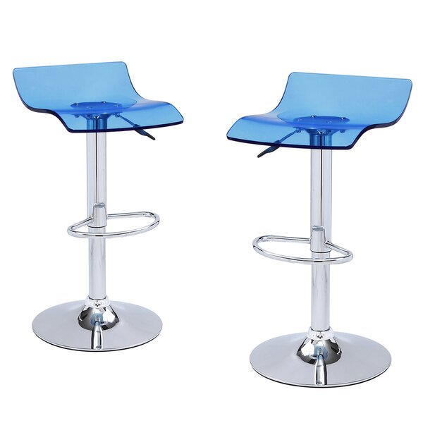 Germann Adjustable Height Swivel Bar Stool (Set of 2) by Wrought Studio