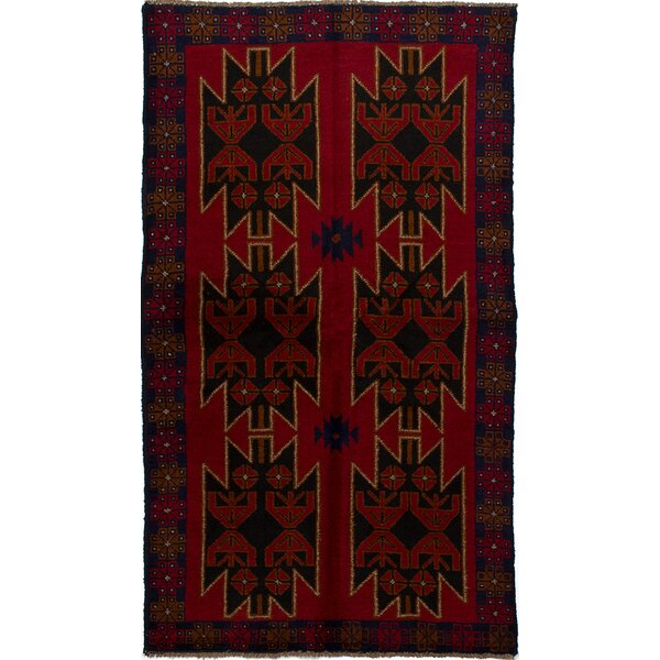 One-of-a-Kind Dix Hand-Knotted Wool Red/Navy Area Rug by Isabelline
