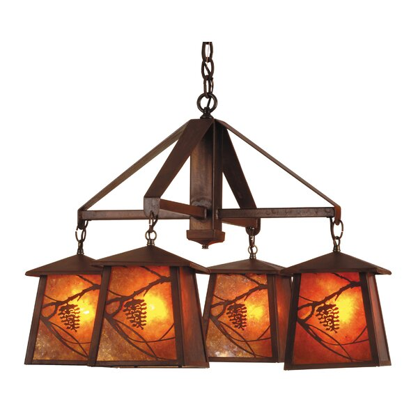 Whispering Pines 4-Light Shaded Rectangle / Square Chandelier by Meyda Tiffany Meyda Tiffany