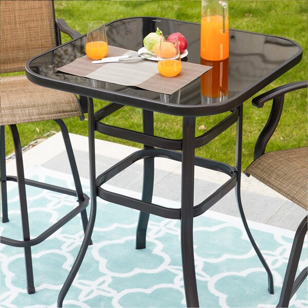 Harjo Glass Bar Table by Charlton Home