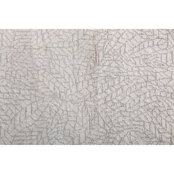 Mosaic Hand Knotted Wool/Silk Ivory Area Rug by Exquisite Rugs