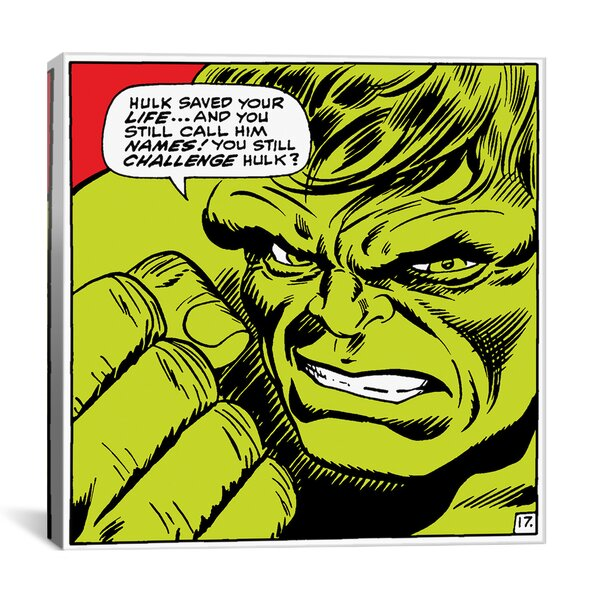 Marvel Comics Book Hulk Art Panel G Graphic Art on Wrapped Canvas by iCanvas