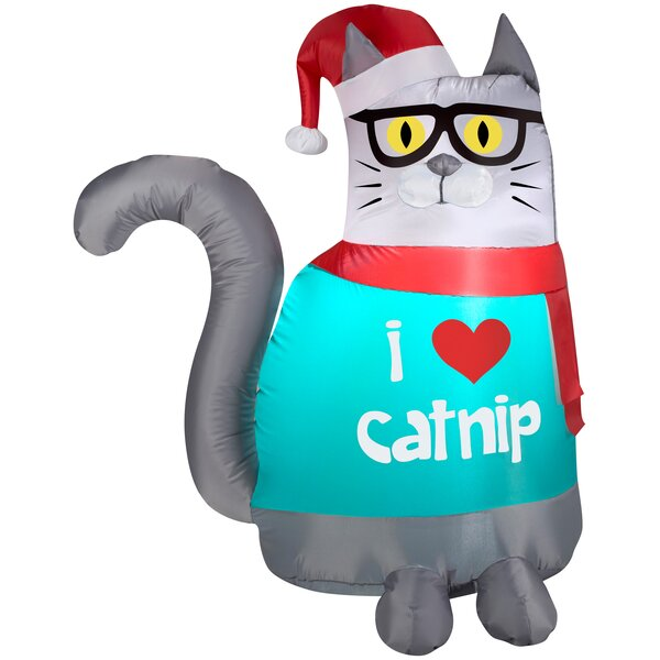 Outdoor Nerdy Cat Christmas Inflatable by The Holiday Aisle