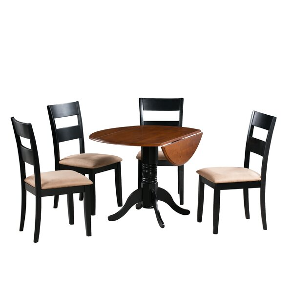Adne 5 Piece Drop Leaf Solid Wood Dining Set by August Grove