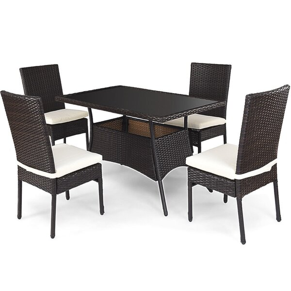 Anibella 5 Piece Dining Set with Cushions (Set of 5)